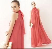 Free shipping Womens Ladies Chiffon Ruffle Neck Sleeveless Evening Ball Gown Long Maxi Dress