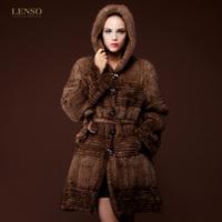 Long design hooded mink knitted outerwear 14 women's fur overcoat