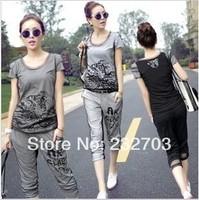 2014 summer gauze patchwork sports casual set female short-sleeve T-shirt capris twinset plus size female