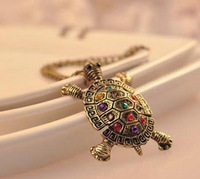 JD4328 Free shipping minimum order $10 (mix order) New Arrival fashion vintage colorful crystal little turtle necklace for lady