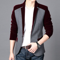 Hot Sale Men's Velvet Blazer Slim Fit Corduroy Casual Suit Jacket Winter Patchwork Fashion Blazers Men Plus Size M-6XL FS-035