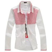 2014 New Top Fasion Freeshipping Full Cotton Casual Shirts Long Sleeve Leisure Spring Stripe Shirt Male Slim Long-sleeve C11-p35