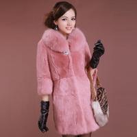Rabbit fur fox fur coat medium-long slim winter 2014