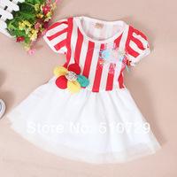 Retail 2014 new baby short sleeve dresses kids lace tutu skirt summer princess cute clothes 1 piece sale girl's flower dress