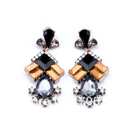 2014 New Fashion Vintage Luxury Black Statement Crystal Stud Earrings For Women Jewelry  Free Shipping