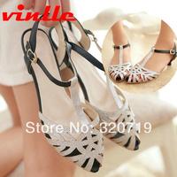 VINLLE 2014 fashion Summer New Arrival Summer Sweet Women low heels Flats Sandals Casual sandals size 34-43