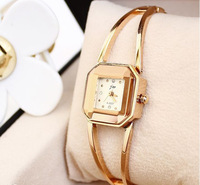 Women's Quartz Watch Square Dial Analogue Display Gold Bracelet Wrist Watches