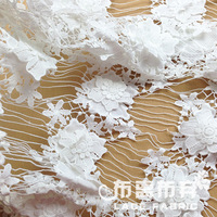 White  water soluble heavy lace cloth  flowers fabric