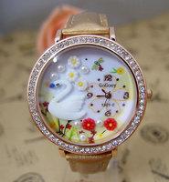 5 colors available Handmade POLYMER CLAY Korea dress leather quartz watch women fashion crystal wristwatch Ladies 23K61