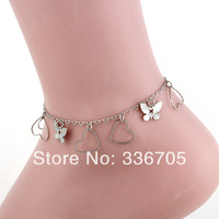 2014New Arrival Free Shipping 10pcs/lot Fashion Lady's 15mm Hollow Butterfly Metallic  Anklets33005#