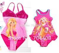 Retail- One piece Girls Kids Baby Barbie Cute Swimsuit Swim wear Bathers monokine Children bathing suits Tankini Swim