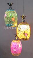Handmade color glass broken mosaic pendant lamp bar crack turtle luminarias home decorationhome decor lighting living room