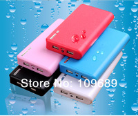 3pcs Newest Wallet style power bank 20000mah With LED Lighting Power Battery External Battery Pack+USB Cable with 4 connecters