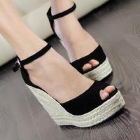Summer new arrival 2014 women's shoes fashion sexy straw braid button open toe platform wedges female 10cm high heel sandals