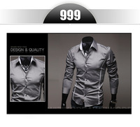 CS11 2014 Men's Fashion Shirt  Solid Color With Special wasit line Shirts For Male Long-sleeved Casual Shirt For Men