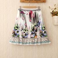 424 Vintage Saias Femininas Summer Women New Fashion Ribbon Lace Casual Skirts Floral Summer Short Skirts