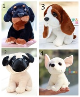 Free shipping 18cm creative simulation super cute little Chihuahua pug dog huskies doll plush toys children birthday gift 1 pc