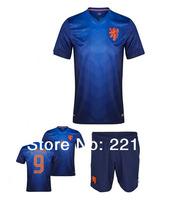 New World cup 13/14 Football Netherland National Team Away soccer jerseys football embroidery Logo jerseys+short sets