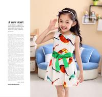 2014 summer girls fashion dresses colorful bird printed girl chiffon dress with belt sleeveless cute kidsdress retail for 3~8Y