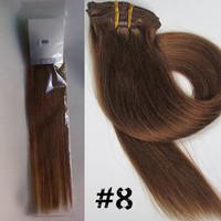 "20"" 26"" 160g  Color  #8 Medium Ash Brown Virgin Remy Brazilian Hair Clip In Human Hair Extensions Straight 10Pcs/Full Head Set"