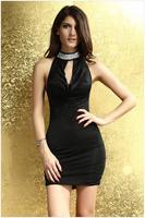 2014 Summer New Arrived Unique Diamond Collar Sleeveless Vest dress Nightclub Sexy Dress