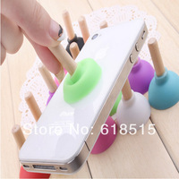 Colorful Rubber mixed toliet iStand Stand Holder for iPhone 4 4s 5 5c 5s  Cellphone promotional gift