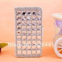 Rose Flower Dancing Dance Girl Bear Pendant Tower Mirror Crystal Diamond Rhinestone Flip Leather Case for Apple iPhone 5 5S