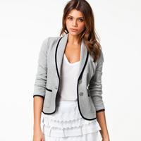 2014 New Fashion Women's Spring Slim Short Design Turn-down Collar Blazer All Match Grey Short Coat Jackets 2014 Free Shipping