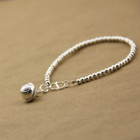 Handmade accessories female silver 3mm lotus small bell 925 pure silver bracelet