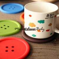15Pcs/Lot Wholesale New creative household supplies round Cup Pads silicone coasters cute button coasters Cup mat 18416 3F