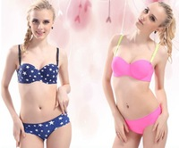 New 2014 Hot Sale Women Half Cup Sexy One-Piece Seamless Printed Push Up Bra Set with Briefs Wedding Dress's Underwear 15 Colors