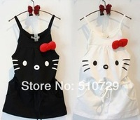 free shipping 2014 new hello kitty dress baby girl's strap dresses cotton summer cute kitty dress 5pcs/lot white black clothes