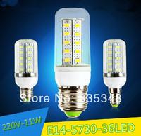 NEW E14 Led Light Corn Lamps 11W Energy Efficient Lighting, 220V Bulbs 5730 36Led SMD Candle Crystal Chandelier 5PCS/Lot