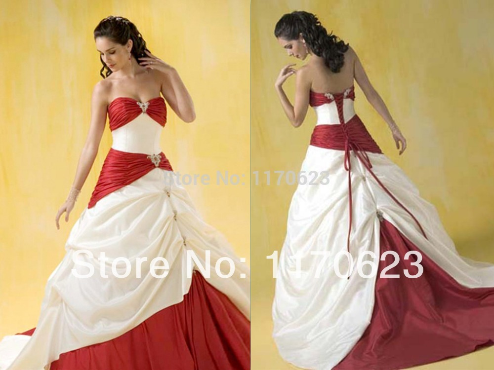 gc4258 UNIQUE CREAM AND RED STRAPLESS BALL GOWN WEDDING DRESS(China (Mainland))