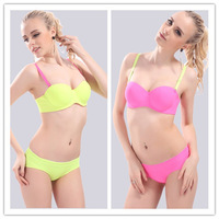 7 Colors New 2014 Women Half Cup Sexy One-Piece Seamless Solid Colored Push Up Bra Set Wedding Dress's Underwear 8 Sizes
