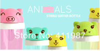 Free Shipping 4 Colors 360ML Creative Personality Cartoon Children Straw Type Water Bottle.A222