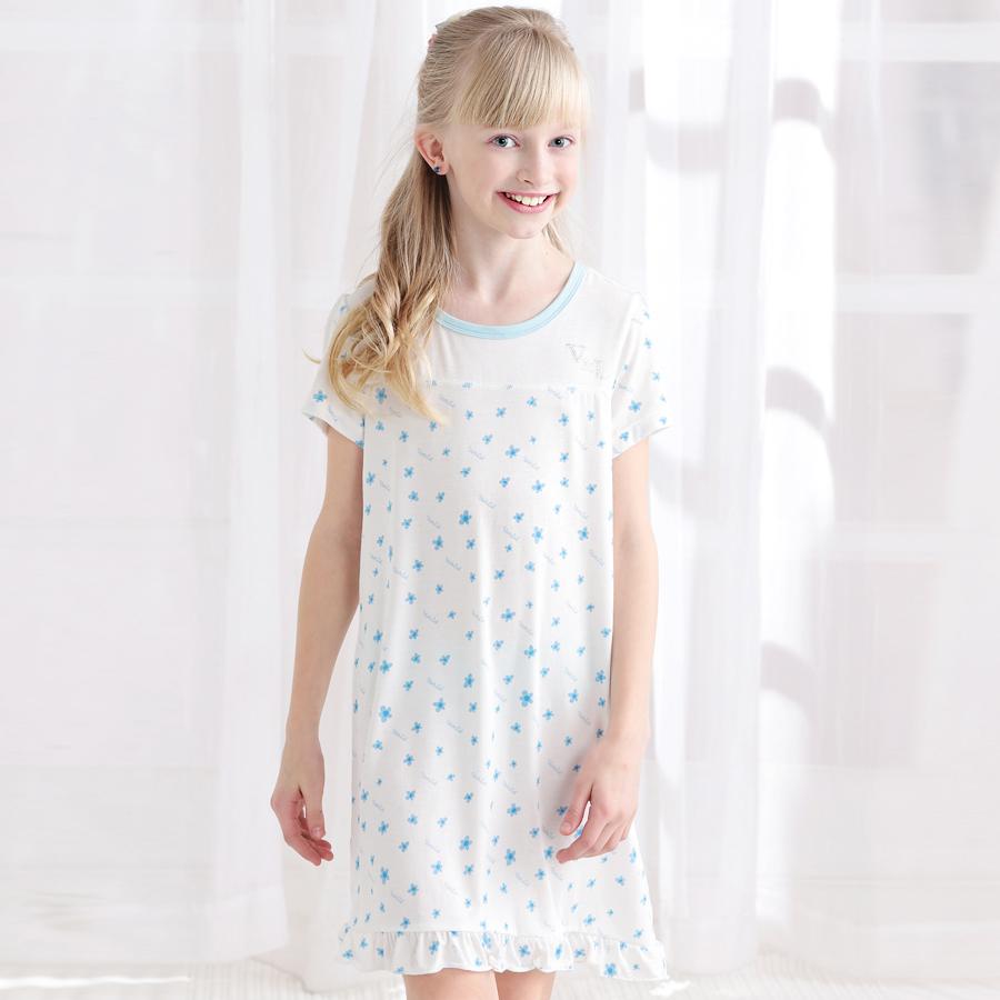 Child sleepwear soft sleeping female child nightgown child one-piece dress(China (Mainland))