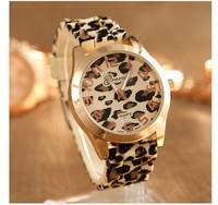 Geneva watch silica gel jelly watches watch rose gold gel leopard print watch