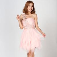 2014 Short shoulder princess bride wedding dress bridesmaid dress evening gown party Free Shipping PD0127