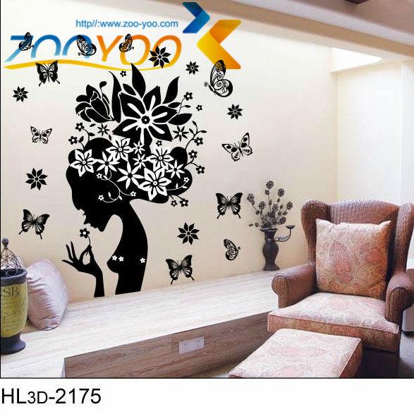 quarto jardim das fadas:preto da flor adesivos de parede para quartos de meninas fada