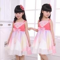 2014 new summer girls dress chiffon dress girls strap dress color