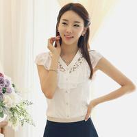 Free shipping 2014 Summer Women's Fashion Sleeveless Lace Chiffon Shirts Female Slim Plus sizes Basic Coat Lady's Sweet Blouses