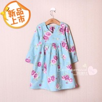 2014 spring children's clothing child sleepwear girl princess female child autumn and winter long-sleeve nightgown 100% cotton