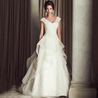 Dvt 2014 wedding formal dress fashion high quality sexy vintage train double-shoulder deep V-neck qi in wedding
