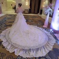 Wedding dress train 2014 luxury sparkling crystal wedding dress bandage tube top luxury big train bride wedding dress