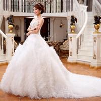 Luxury tube top diamond long trailing 2014 princess plus size wedding dress bandage