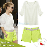 2014 New Summer Women Girls Ladies White Short Cotton Blouses Shortsleeve Fluorescent Shorts Pants Loosen Clothings Set