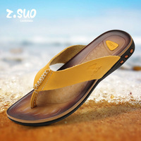 New!!! Popular Men's breathable flip flops casual genuine leather slippers summer beach slipper shoes
