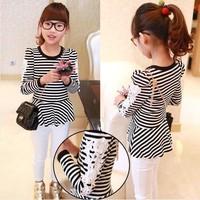 wholesale(5pcs/lot)- Spring 1502 stripe lace long design knitted t-shirt basic shirt