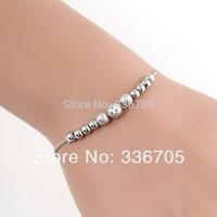 2014New Arrival Free Shipping 10pcs/lot Fashion Lady's 6mm  Dull Polish Beads Metallic Wihte Bracelet25326#
